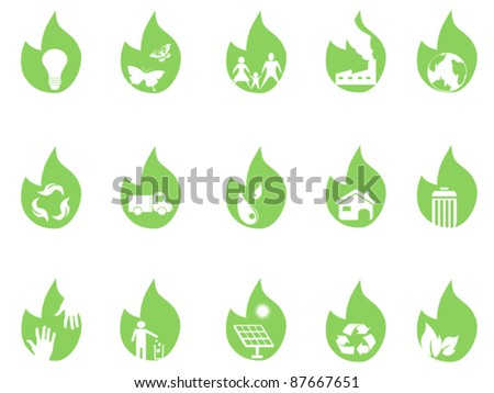 eco icons on green leaf