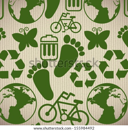 eco icons  over lineal background vector illustration
