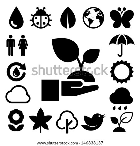 Eco icons set.Elements of this image furnished by NASA