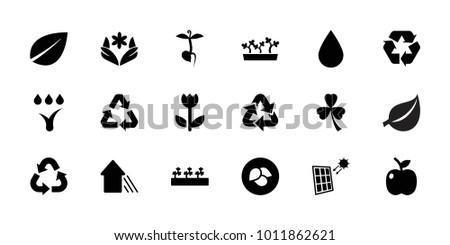 Eco icons. set of 18 editable filled eco icons: leaf, flower, sprout plants, sprout, recycle, arrow up, apple, watering system, solar panel, clover