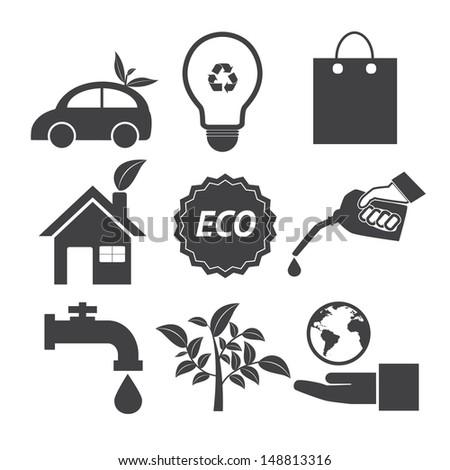 Eco icons set. Vector EPS 10 - stock vector