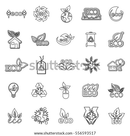 Eco icons set, vector illustration. Collection of black thin line leaves. Different shapes in modern flat and cartoon style. Ecology design elements isolated on white background