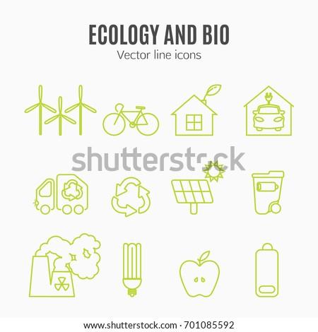 eco icons vector set thin line