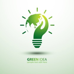 Eco idea with earth and hand,vector illustration