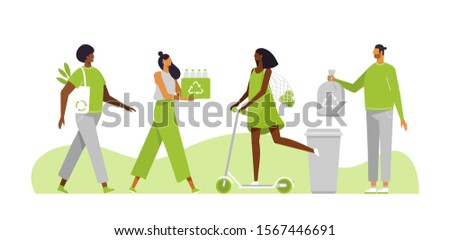 Eco illustration for web. People sorting waste, plastic and use eco bag and eco transport. Eco-friendly characters. Save the planet. Vector template, flat design, white isolated.