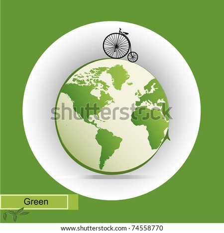 eco illustration with green earth icon vector illustration