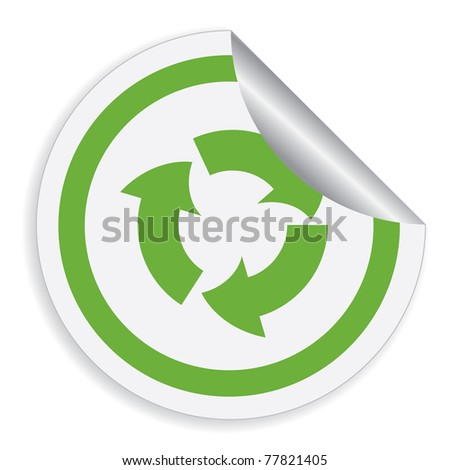 Eco label with recycle symbol. Vector illustration.
