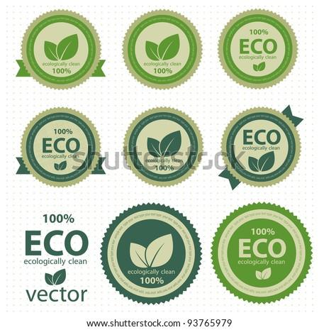 Eco labels with retro vintage design. Vector