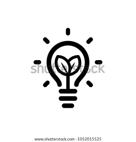 Eco lightbulb icon with plant with leafs