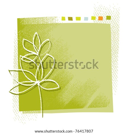 Eco - little plant motive background (simple linear drawing, textured grunge background, vector)