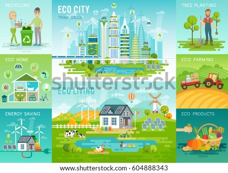 Eco living Infographic, eco city, recycling, eco house, green energy, eco farming, organic products concepts.