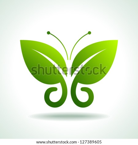 Eco logo  green butterflies