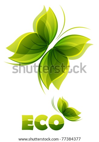 Eco logo two green butterflies