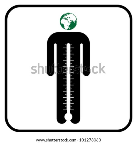eco man symbol with thermometer or business man under stress, vector