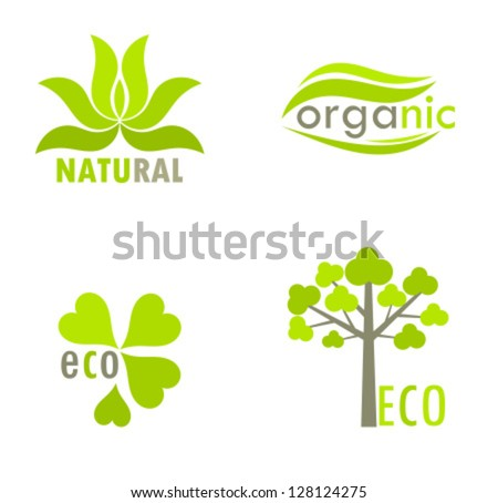 Eco, natural and organic symbols or logos - tree and leaves environmental icons. Vector illustration