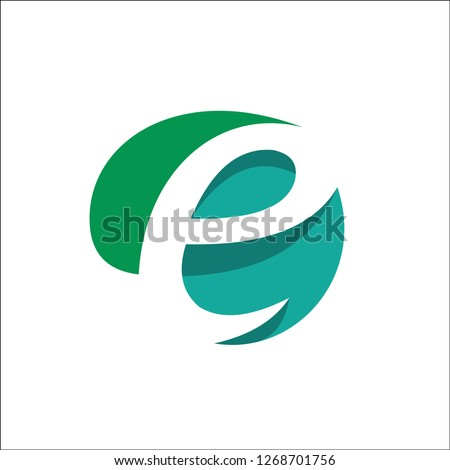 Eco Natural Letter Initial E Logo Design Template - Vector