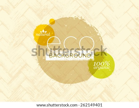 Eco Organic Vector Banner On Natural Palm Leaf Mat Texture Background