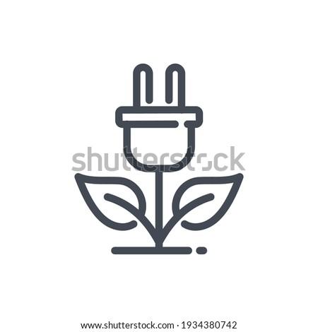 Eco plug line icon. Eco power vector outline sign.
