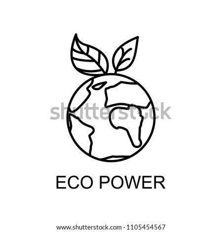 eco power outline icon. Element of enviroment protection icon with name for mobile concept and web apps. Thin line eco power icon can be used for web and mobile on white background