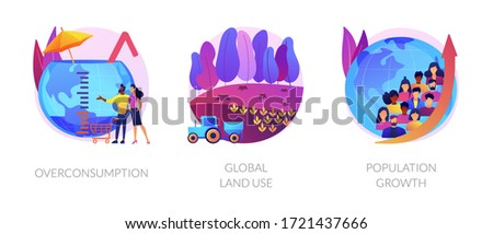 Eco problems. Bad land management idea. Human overpopulation, resource depletion. Overconsumption, global land use, population growth metaphors. Vector isolated concept metaphor illustrations