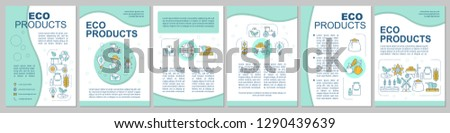 Eco products brochure template layout. Ecological farming. Flyer, booklet, leaflet print design with icons. Organic agriculture. Vector page layouts for magazines, annual reports, advertising posters