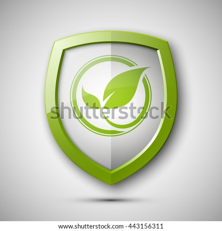 Eco Protect Logo Template Design Ecological Shield Label Plant Icon Herb Badge