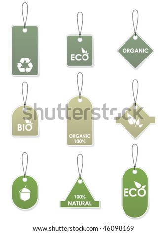 Eco recycling tags - stock vector
