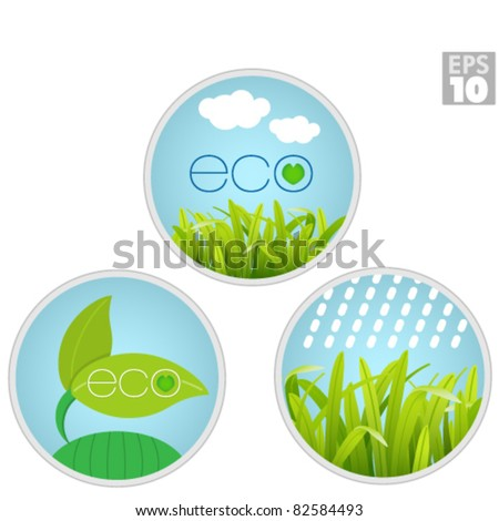 Eco safe labels, growing plants, grass, natural leafs and clean rain