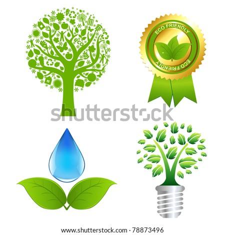 Eco Set, Isolated On White Background, Vector Illustration