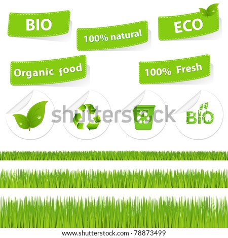 Eco Set With Grass, Isolated On White Background, Vector Illustration