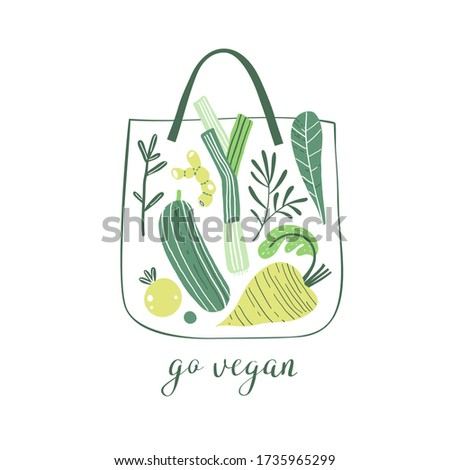 Eco shopping bag with summer vegetables: leek, zucchini, tomato,  root vegetables and greens. Healthy food. Elements for design.