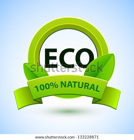 Eco sign with green spring leafs and natural ribbon