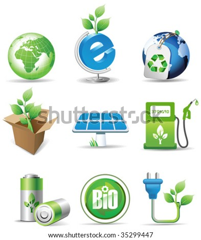 Eco signs. All elements and textures are individual objects. Vector illustration scale to any size. - stock vector