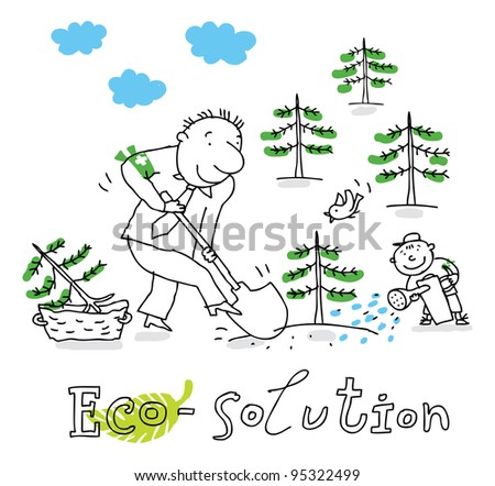 Eco solution; ecology and environment protection, vector drawing ; isolated on background.