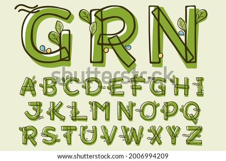eco style alphabet hand drawn