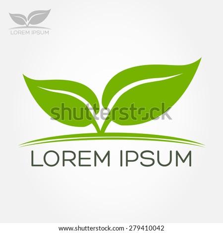 eco symbol green leaf vector