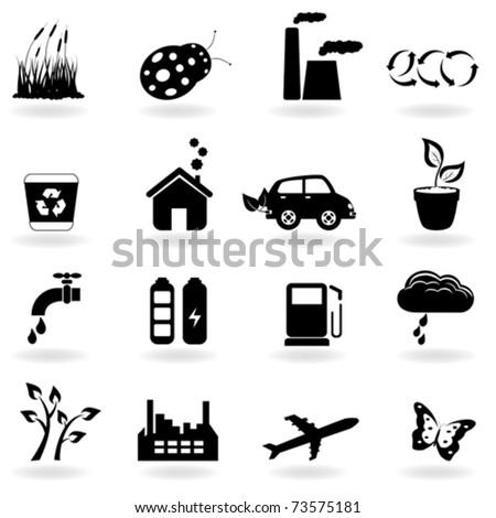 Eco symbols in icon set