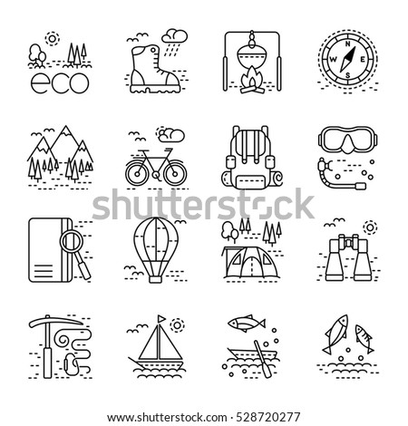 Eco tourism icons set on white background. Collection of modern line style design element. Vector illustration, can be used for web page, banner, infographics