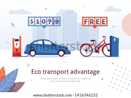 Eco Transport Advantage. Electric Car Charging Station. E-bike Free Recharge Vector Illustration. Alternative Transport. Ecological Automobile Bike Environment Protection. Money Savings stock photo