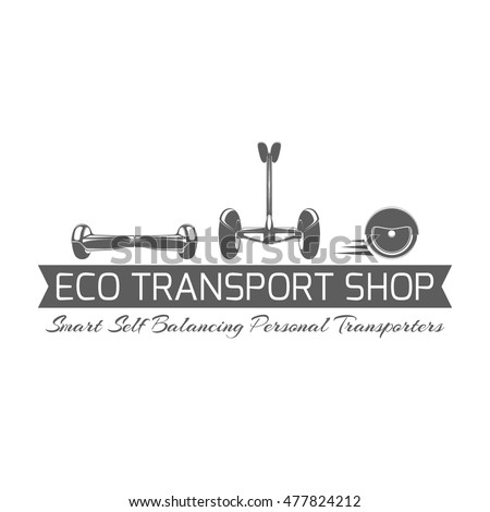 Eco transport shop logo. Monochrome label template with self-balancing scooters and ribbon isolated on white background. Design element for gyroscooter or segway store advertising. Vector illustration