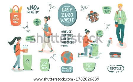 Eco vector illustration. Zero waste lifestyle. People sorting waste and use eco bag and reusable cup. Hand drawn elements of zero waste life. Eco-friendly character. No plastic.  Flat isolated design