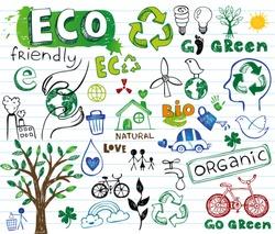 ECO vector set - doodles and inscriptions