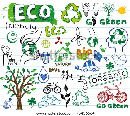 ECO vector set - doodles and inscriptions