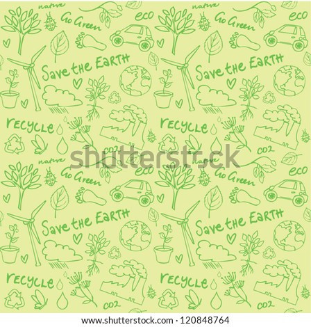 Eco vector set seamless pattern