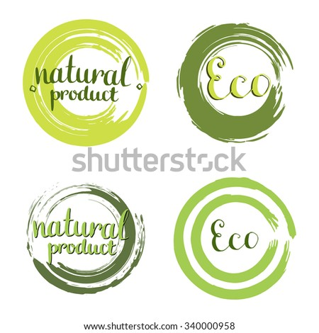 Eco vector set with circle frames, design elements. Label with handwritten Natural product