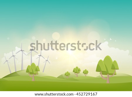 eco vector summer landscape