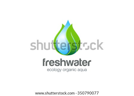 eco water drop leaf logo design