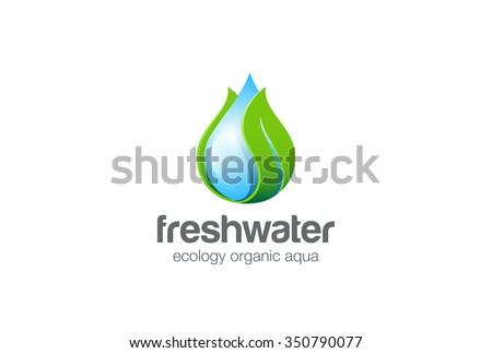 eco water drop leaf logo design