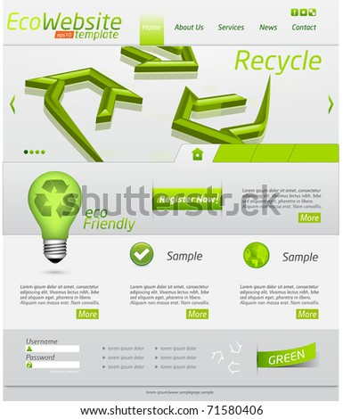 Eco website template with clean design and icons