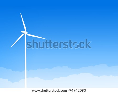 Eco Wind Turbine and Blue Sky